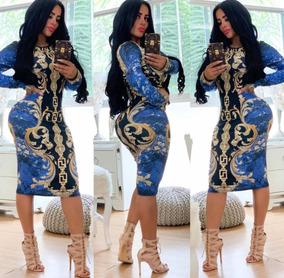 Hermoso Vestido Inspo De Cadenas Azul Con Blanco