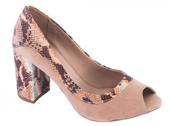 Sapato Peep Toe Feminino Material Sintético Na Cor Bege