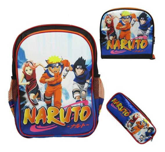 Kit Escolar Infantil Mochila Costas Naruto Tamanho G
