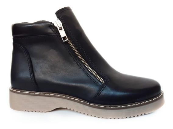Botas Borcegos Zapatos Mujer Cuero Vacuno 2 Cierres #001