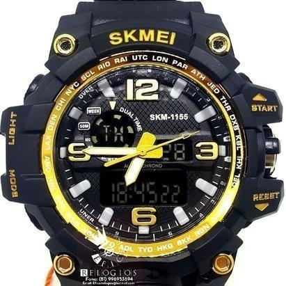 Relógio Masculino Skmei S-shock Dourado Original Agua 50m