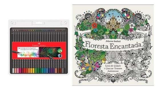 Kit Livro Floresta Encantada+ Lápis 24 Cores Supersoft Faber