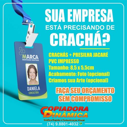 Imagem 1 de 6 de Crachá Em Pvc + Presilha Jacaré + Cordão