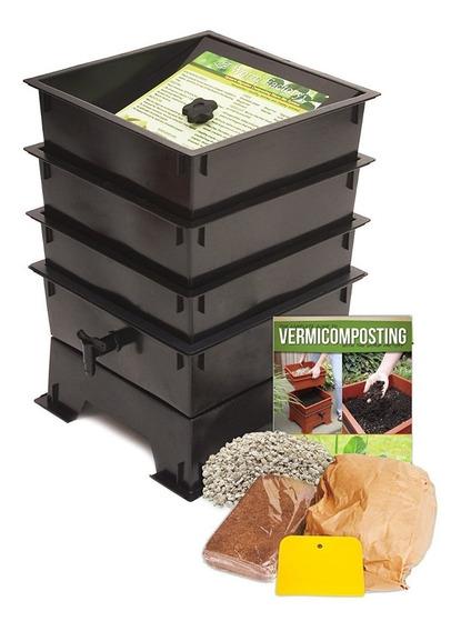 Compostero Lombriz Composta Gusanos 3 Niveles Fertilizante