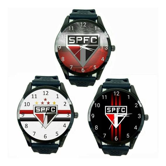 Kit 3 Relógios São Paulo Masculino Tricolor Fc Futebol T450