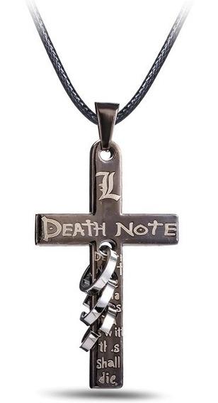 Colar Death Note Crucifixo Light Yagami Cinza Chumbo Mangá