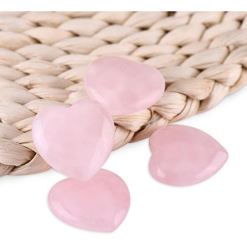 Cristales Sanadores De Cuarzo Rosa En Forma De Corazón 4 U.