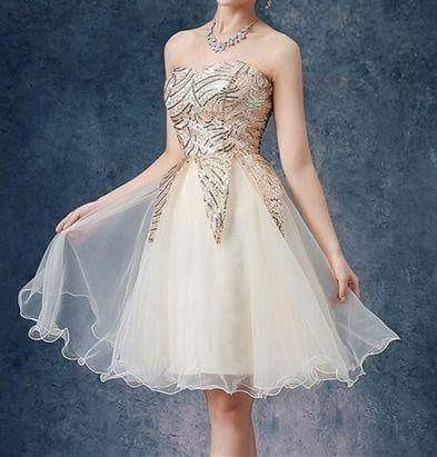 Vestido De Debutante Curto De Baile Dourado