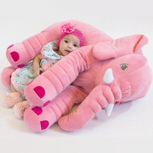 Imagem 1 de 3 de Almofada Elefante Rosa De Pelúcia 60cm Para Bebê - Toybrink