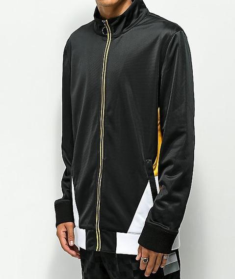 Chamarra Ninth Hall Geoffry Zip Front Black & Yellow Jacket Deportiva Sport Nike adidas Puma Urban Beach