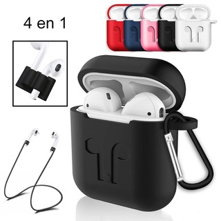 Estuche Silicone Case AirPods Apple Set 4 En 1 Anti-golpes