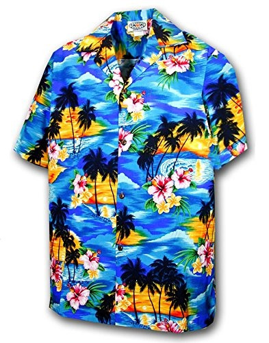 Camisa Hawaiana Para Ninos - Azul Con Estampado De Puesta De