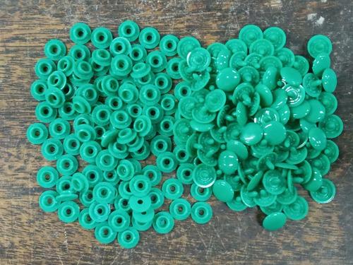100 Broches A Presion Plastico * 13 Mm * Verde Grey * Condal