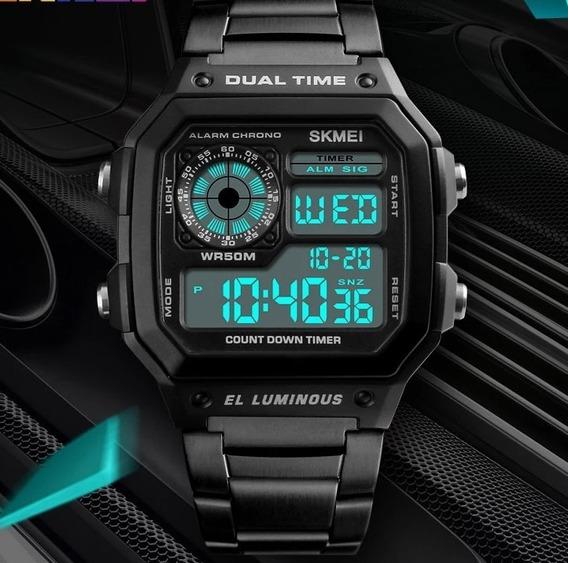 Relógio Digital Skmei Retrô Metal