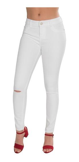 Pantalon Dama Jeans Blanco Mezclilla Skinny Ajustado V91108