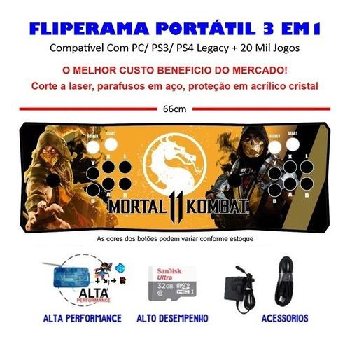 Imagem 1 de 3 de Fliperama Portátil Slim 3 Em 1 - Scorpion Mk11