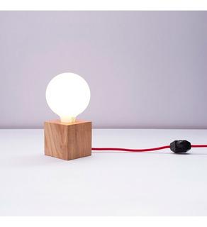 Lámpara De Mesa Modelo Filomena Bombita Blanca Cable Rojo