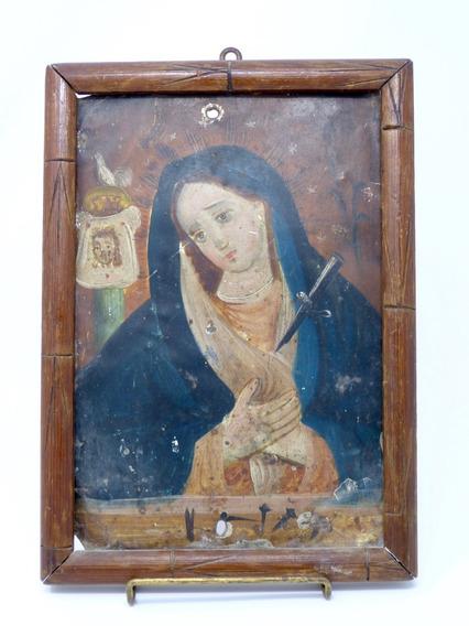 Retablo Antiguo De La Virgen Dolorosa Óleo Sobre Lámina