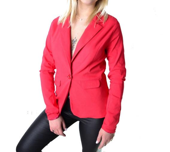 Blazer Saco Elastizado Rojo Rosa Negro Azul Mujer The Big Shop