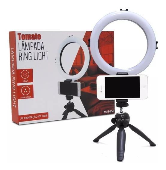 Iluminador Led Ring Light 20cm Diâmetro 3 Cores Com Tripe