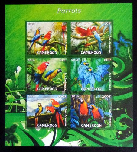 Camerún Aves, Bloque 6 Sellos S D Loros 2016 Mint L9889