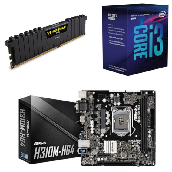 Kit Intel I3 8100 + Asrock H310m Hg4 + Vg 4gb 2400