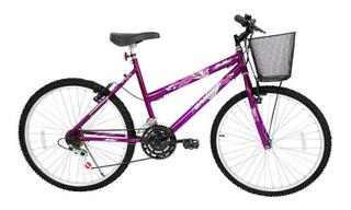 Bicicleta Aro 26 21 Marchas Feminino Com Cesta Bella Cairu