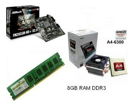 Kit: Amd A4 6300 + Asrock Fm2a55m-hd+ /8gb Ram/ Pcyes Gt 730