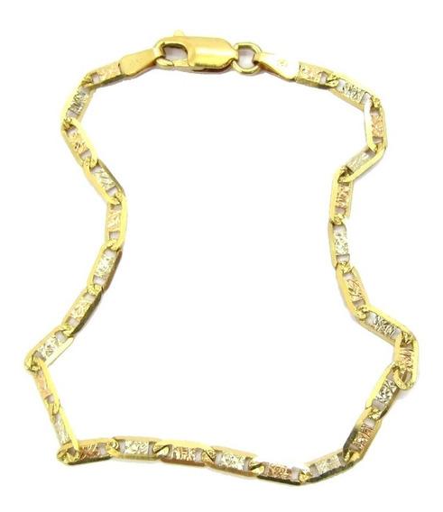 4273 Pulseira Piastrini Tricolor 19 Cm Em Ouro 18k