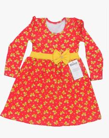 Kit 5 Vestidos Infantil Feminino Manga Longa Atacado Revenda