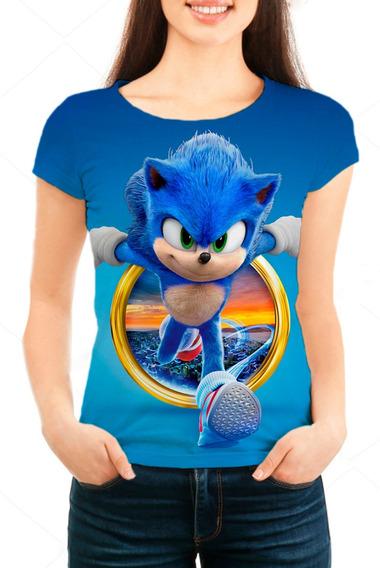Camiseta Babylook Feminina Filme Sonic - Mn06
