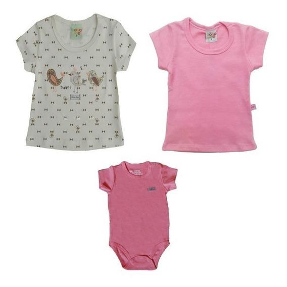 11.988/1035/1955- Kit 2 Camisetas Body Bebê Menina Blusinhas