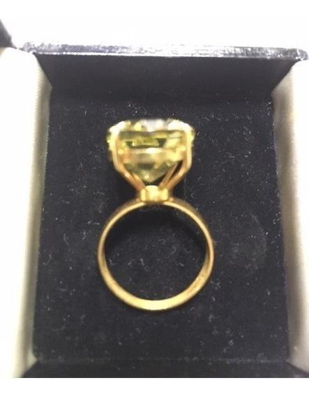 Anel Ouro 18k Com Pedra Citrino Aro 17
