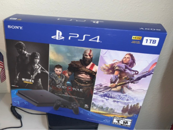 Playstation 4 Slim 1tb + 3 Jogos Exclusivos+spider-man