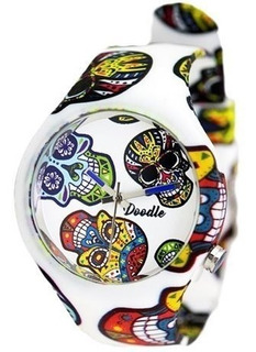 Doodle Watch Doca002- White Skull- Calaveras