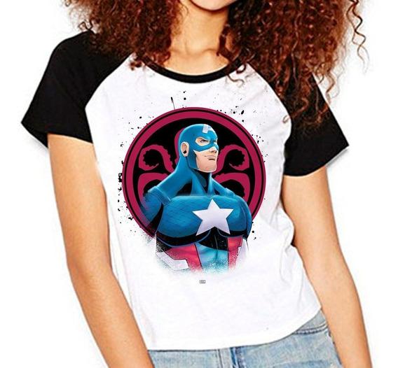 Camiseta Marvel Capitão América Hydra Raglan Babylook