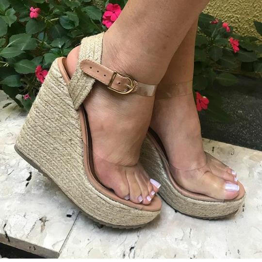 Sapatos Femininos Sandalias Anabela Transparencia