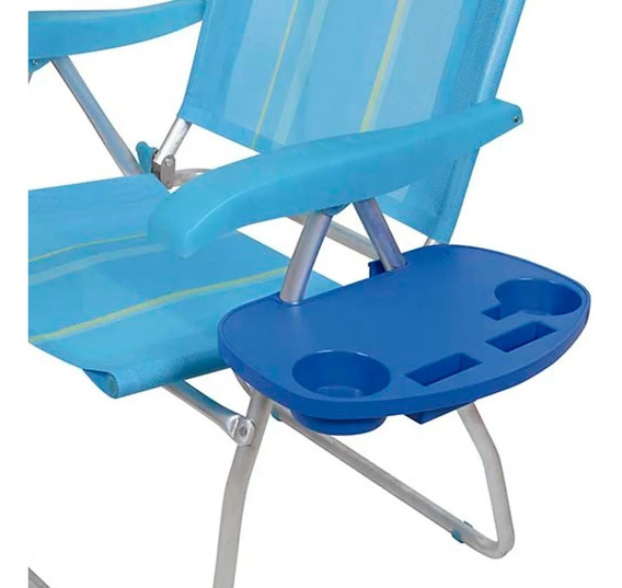 Mesa Portátil Para Cadeira De Praia Porta Copos Azul Mor