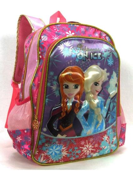 Mochila Escolar Infantil Feminina Relevo Princess On Ice 3d