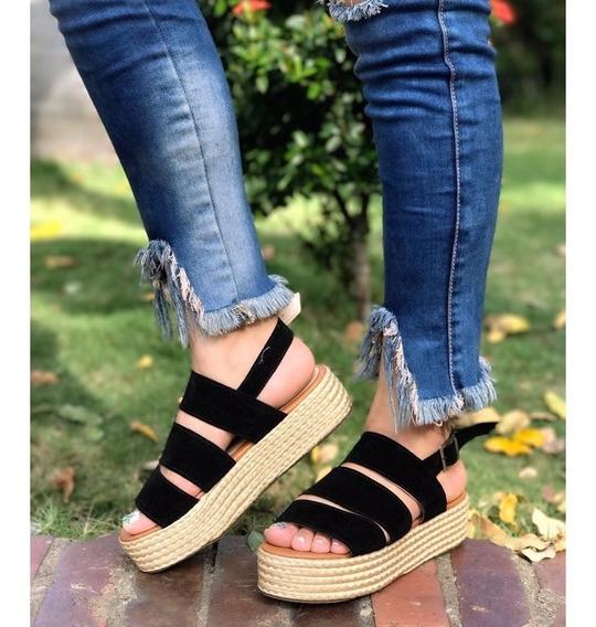 Sandalia De Plataforma Plana Negra Zapatos Moda Envío Gratis