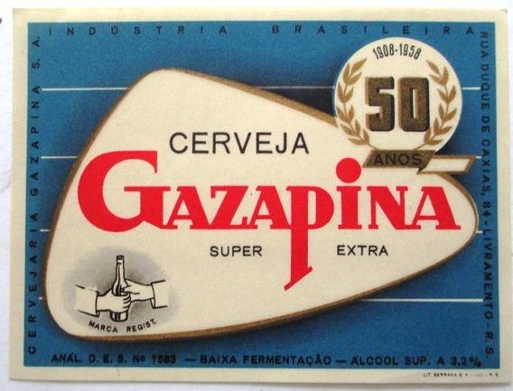 C1361 Rótulo Cerveja Gazapina- Livramento Rs De 1958 Em Exc