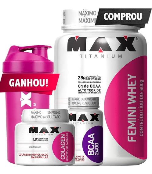 Combo Mulher Whey Protein + Bcaa + Colágeno Max Titanium