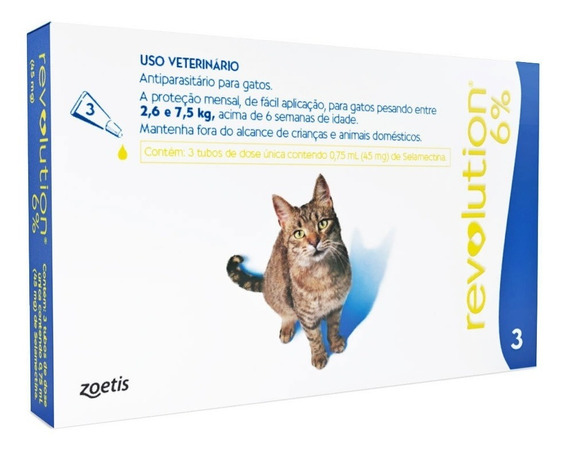 Antipulgas Revolution 6% P/ Gatos 2,5 A 7,5kg Com 3 Pipetas