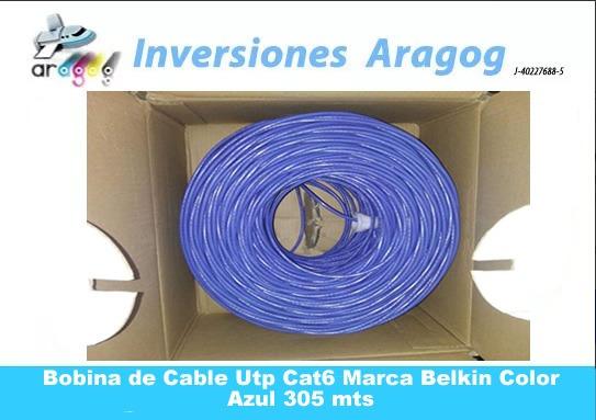 Bobina De Cable Utp Cat6 Marca Belkin Color Azul 305 Mts
