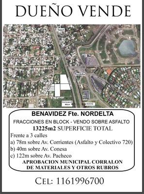 7 Fracciones En Benavidez Frente A Nordelta Sup.13.225 M2