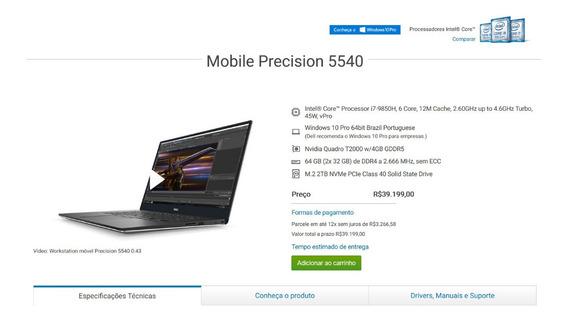 Workstation Dell Precision 5540 I7 9850h 64gb Ddr4 E 2tb Ssd