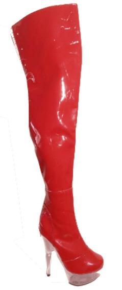 Bota Pole Dance Bucanera Plataforma Taco Cristal Roja Charol