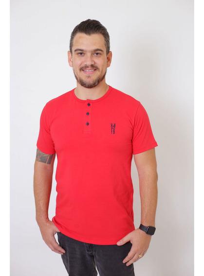 T-shirt Henley Masculina Vermelha