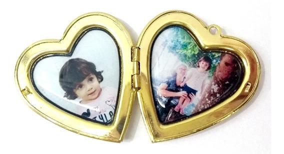 Relicário Coração Duas Fotos Abre Fecha Buque Noiva Pingente