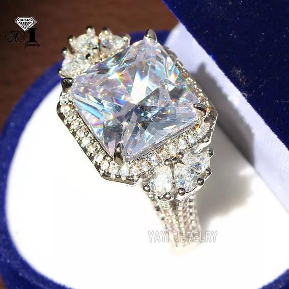 Anel Grande Prata 925 Pedras Cristal Zircão Natural Brilho